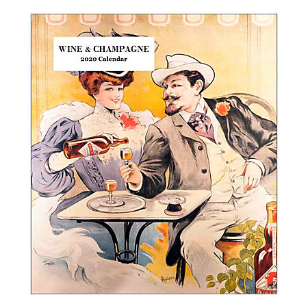 """Retrospect Wine & Champagne Monthly Desk Calendar, 6-1/4"""" x 5-1/2"""", January To December 2020, YCD 031-20"""