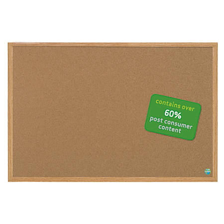 """MasterVision™ Earth Cork Board With Fiberboard Frame, 36"""" x 48"""", 60% Recycled"""