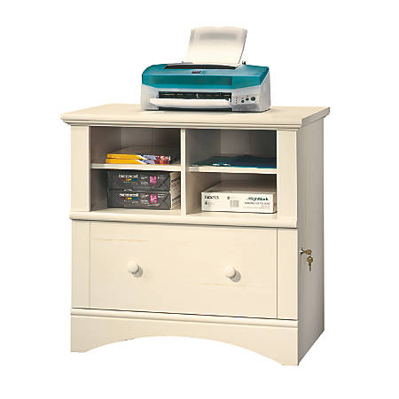 Sauder® Harbor View Letter Size/Legal Size Lateral File Cabinet, 1 Drawer, Antiqued White