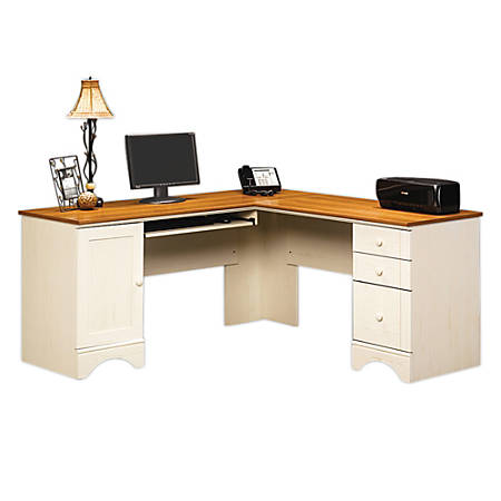 Sauder Harbor View Collection Corner Computer - Sauder Harbor View Collection Corner Computer Desk Antiqued White By