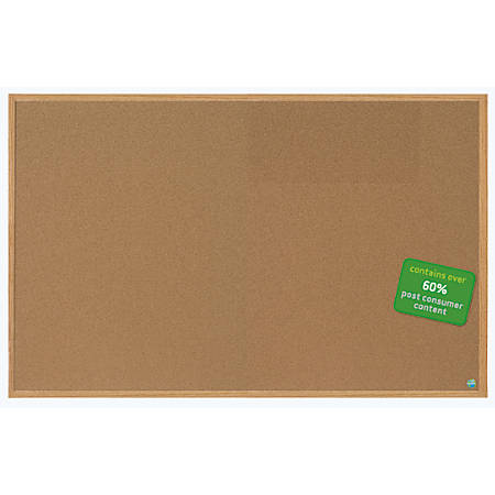 "MasterVision™ Earth Cork Board With Fiberboard Frame, 48"" x 72"", 60% Recycled"