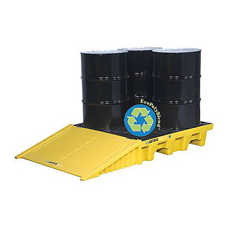 EcoPolyBlend Spill Control Pallets, Black, 66 gal, 25 in x 49 in, No Drain