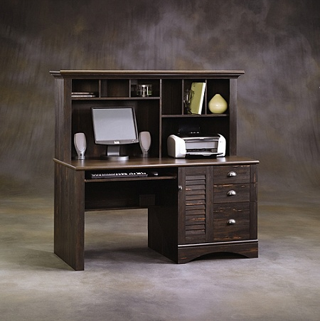 Sauder Harbor View Collection Computer Desk With Hutch Antiqued Paint Item 287370