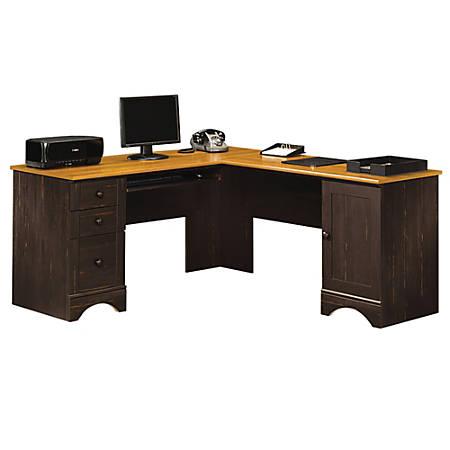 Sauder® Harbor View Collection Corner Computer Desk, Antiqued Paint