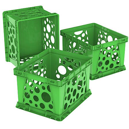 """Storex Large File Crates, 10-1/2""""H x 14-1/4""""W x 17-1/4""""D, Classroom Green, Pack Of 3 Crates"""