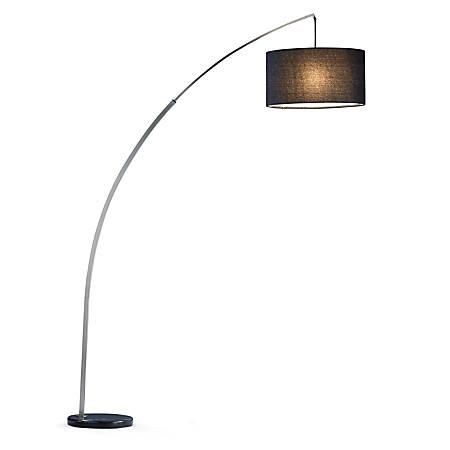 "Adesso® Rivington Arc Lamp, 90""H, Charcoal Shade/Black Base"