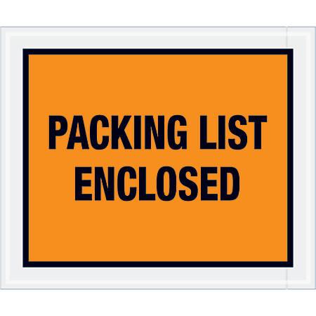 "Tape Logic® Preprinted Packing List Envelopes, Full Print, Packing List Enclosed, 10"" x 12"", Orange, Case Of 500"