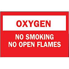 Chemical Hazardous Material Signs OxygenNo SmkgNo