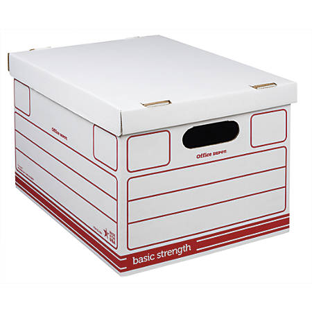"Office Depot® Brand Storage Boxes, Letter/Legal, 10""H x 12""W x 15""D, 50% Recycled, Red/White, Pack Of 15"