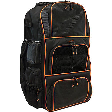 "Mobile Edge Deluxe Carrying Case (Backpack) Baseball, Softball - Black, Orange - Ballistic Nylon, Twin Matt - Shoulder Strap, Handle - 24"" Height x 17"" Width x 10"" Depth"