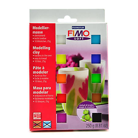 Fimo Soft Polymer Clay Blocks, 1 Oz, Assorted Colors, Pack Of 10