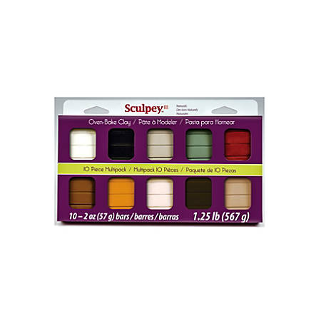 Sculpey III Multipacks Clay, 2 Oz, Naturals, Set Of 10