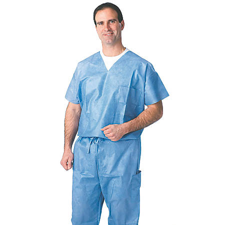 Medline Disposable Scrub Shirts, X-Large, Blue, Case Of 30