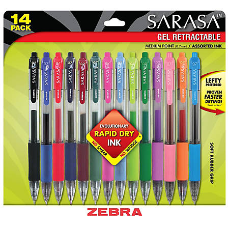 Zebra® Sarasa® Gel Ink Retractable Pens, Medium Point, 0.7 mm, Clear Barrels, Assorted Ink Colors, Pack Of 14