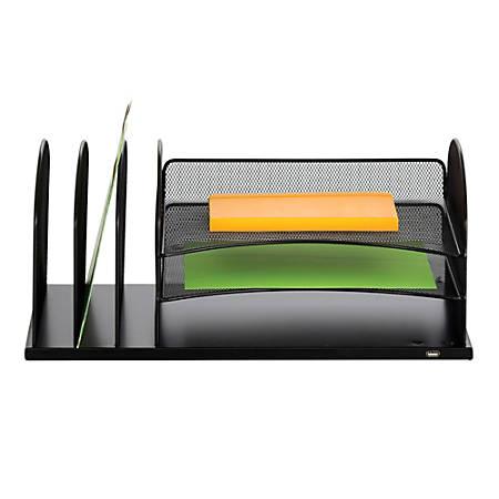 Safco® USB Powered Onyx™ Mesh Desk Organizer, 3 Horizontal/3 Upright Sections, Black