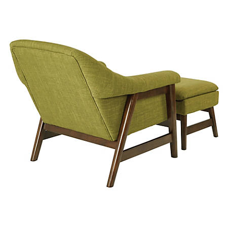 Ave Six Flynton Chair And Ottoman, Green/Medium Espresso