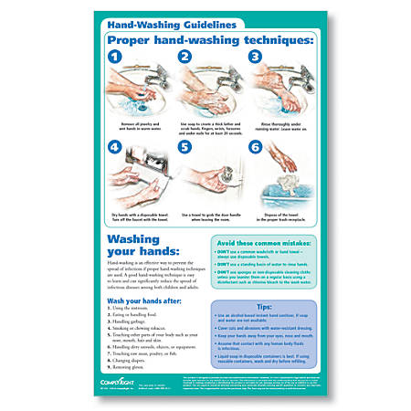 """ComplyRight Hand Washing Poster, English, 8 1/2"""" x 14"""""""