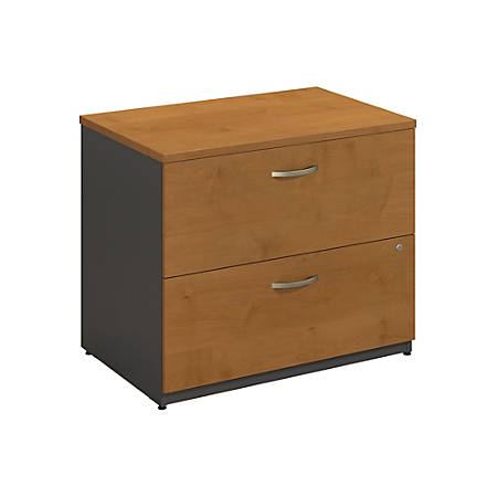 "Bush Business Furniture Components 2 Drawer Lateral File Cabinet, 36""W, Natural Cherry/Graphite Gray, Standard Delivery"