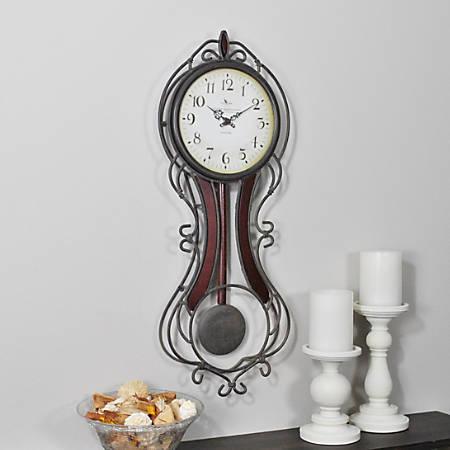 "FirsTime® Fleur Grand Pendulum Clock, 25""H x 9 1/2""W x 3""D, Bronze/Mahogany"
