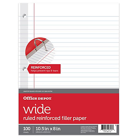 "Office Depot® Brand Reinforced Filler Paper, 8"" x 10 1/2"", 16 Lb, Wide Ruled, White, Pack Of 100"