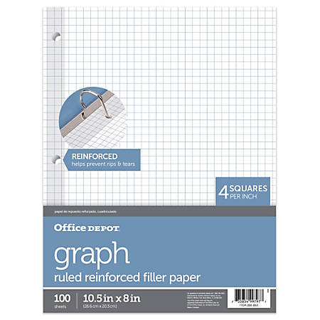 "Office Depot® Brand Reinforced Filler Paper, 8"" x 10 1/2"", 16 Lb, Quadrille Ruled, White, Pack Of 100"