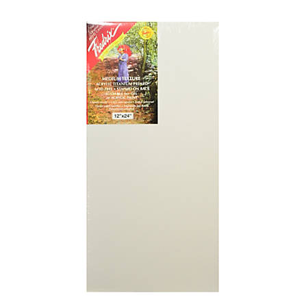 """Fredrix Red Label Stretched Cotton Canvases, 12"""" x 24"""" x 11/16"""", Pack Of 2"""
