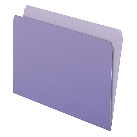 Pendaflex® Straight-Cut Color File Folders, Letter Size, Lavender, Box Of 100