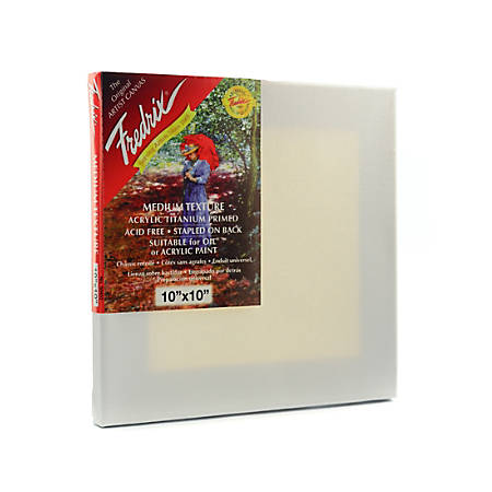 "Fredrix Red Label Stretched Cotton Canvases, 10"" x 10"" x 11/16"", Pack Of 3"