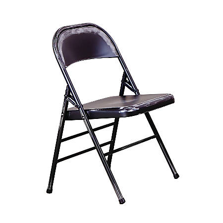 Office Star™ Bristow Steel Folding Chairs, Antique Black Distressed, Set Of 2 Chairs