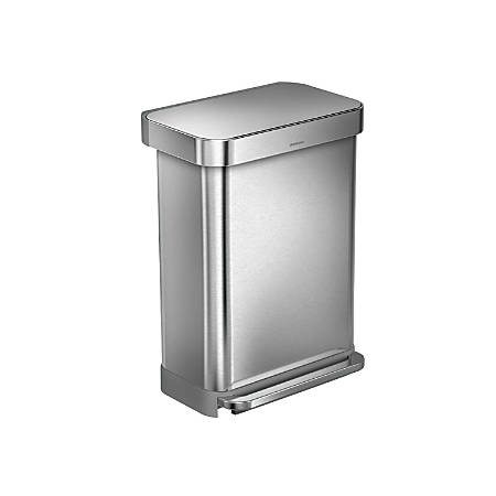 simplehuman® Rectangular Step Can With Liner Pocket, 12 Gallons, Brushed Stainless Steel