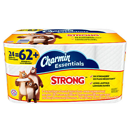 Charmin® Essentials Strong™ 1-Ply Bathroom Tissue, White, 300 Sheets Per Roll, Pack Of 24 Rolls