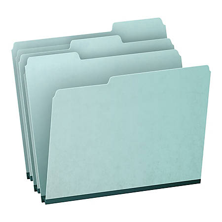 Oxford® 1/3-Cut Pressboard Tab Folders, Letter Size, 65% Recycled, Blue, Box Of 25