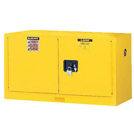 Yellow Piggyback Safety Cabinets, Manual-Closing Cabinet, 17 Gallon