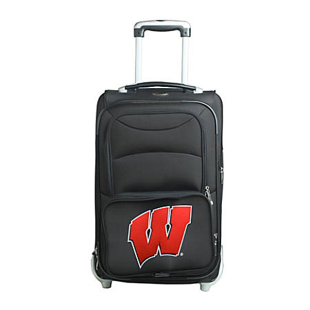 "Denco Sports Luggage NCAA Expandable Rolling Carry-On, 20 1/2"" x 12 1/2"" x 8"", Wisconsin Badgers, Black"