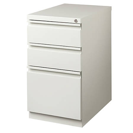 "WorkPro® 23""D 3-Drawer Metal Mobile Pedestal Vertical File Cabinet, Light Gray"