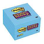 Post-it Super Sticky Notes Electric Blue 5 Pack, 3u0022 x 3u0022, 90 Sheets per Pad
