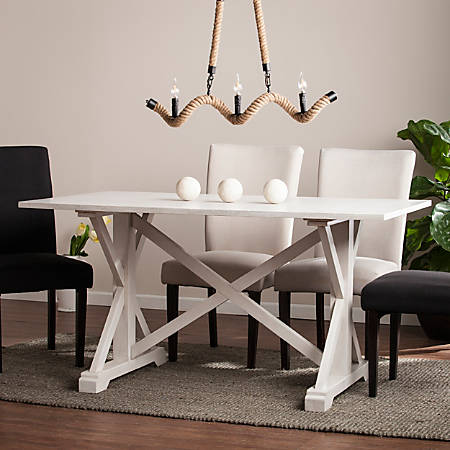 Southern Enterprises Cardwell Distressed Farmhouse Dining Table, Rectangular, White