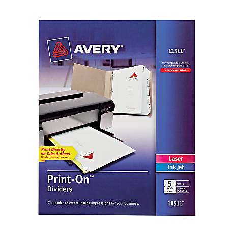 Avery Print On Dividers 8 12 X 11 3 Hole Punched 5 Tab White