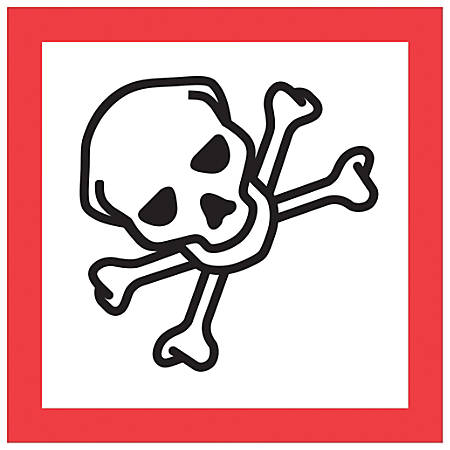 "Tape Logic® Pictogram Labels, DL4248, Skull And Crossbones, Square, 2"" x 2"", Red/White/Black, Roll Of 500"