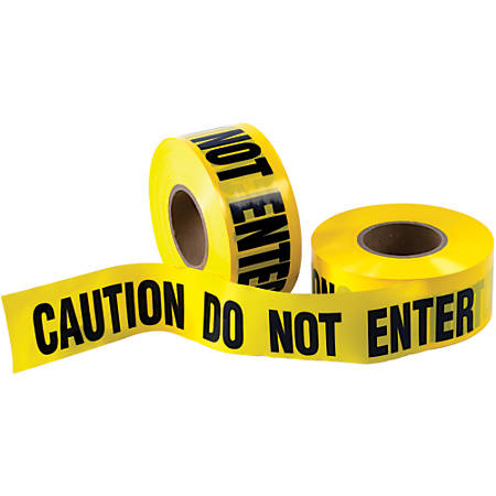 "B O X Packaging Barricade Tape, Caution Do Not Enter, 3"" Core, 3"" x 333 Yd., Black/Yellow, Case Of 4"