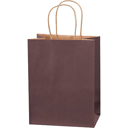 "Partners Brand Tinted Shopping Bags, 10 1/4""H x 8""W x 4 1/2""D, Brown, Case Of 250"