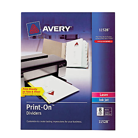 "Avery® Print-On™ Dividers, 8 1/2"" x 11"", 3-Hole Punched, 8-Tab, White Dividers/White Tabs"