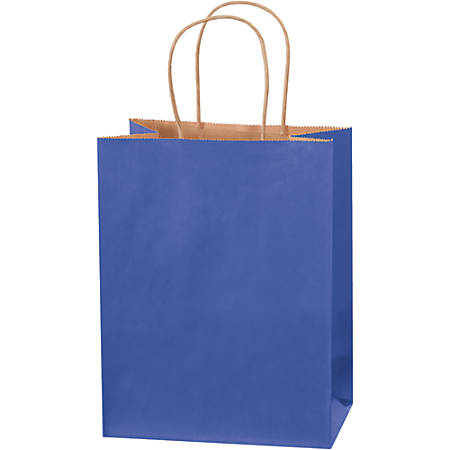 """Partners Brand Tinted Shopping Bags, 10 1/4""""H x 8""""W x 4 1/2""""D, Parade Blue, Case Of 250"""