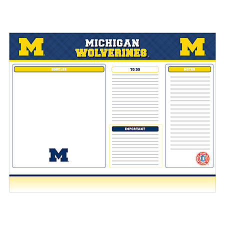"Markings by C.R. Gibson® Desk Notepad, 17"" x 22"", Michigan Wolverines"