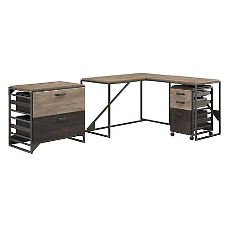 """Bush Furniture Refinery 50""""W L Shaped Industrial Desk With 37""""W Return And File Cabinets, Rustic Gray/Charred Wood, Standard Delivery"""