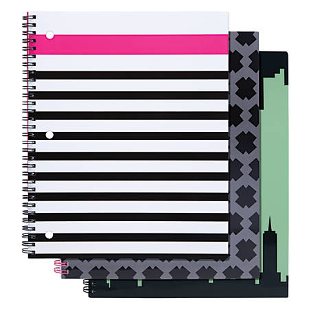 "Divoga® Spiral Notebook, City Limits Collection, 8 1/2"" x 10 1/2"", 1 Subject, College Ruled, 160 Pages (80 Sheets), Assorted Designs"