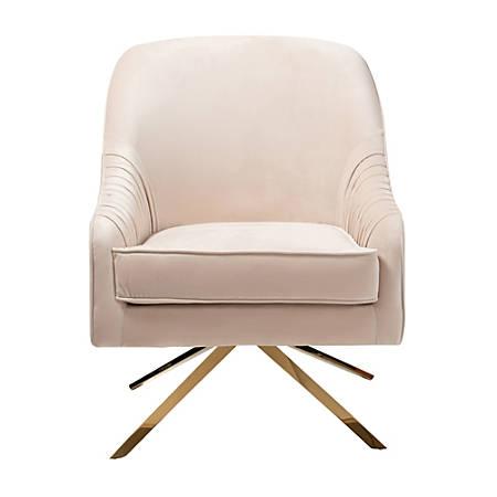 Baxton Studio Kira Velvet Lounge Chair, Light Beige/Gold
