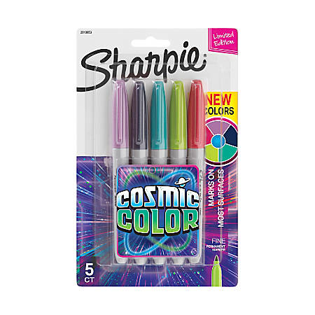 Sharpie® Cosmic Color Permanent Markers, Fine Point, Gray Barrels, Assorted Ink Colors, Pack Of 5 Markers
