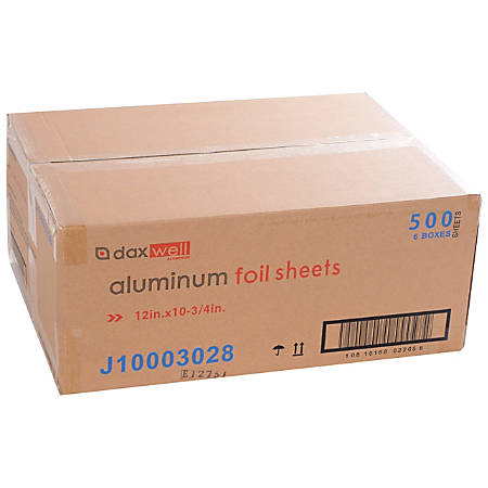 "Daxwell® Aluminum Foil Sheets, 12""W x 10 3/4""L, 500 Sheets Per Box, Case Of 6 Boxes"