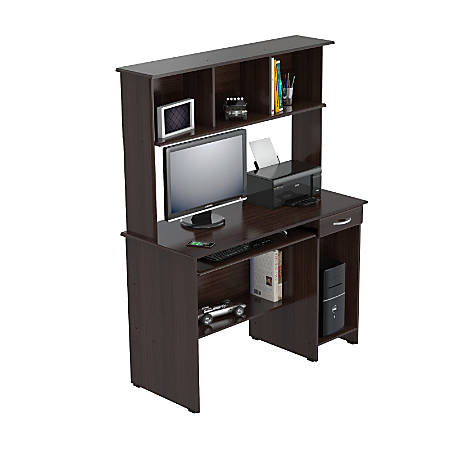 Inval computer workcenter with hutch espresso wengue by Depot ringcenter